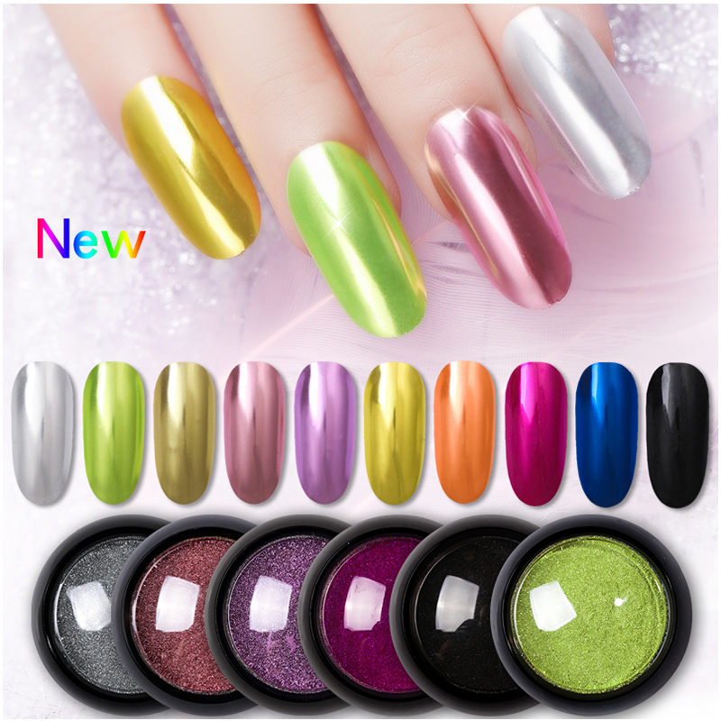 Born Queen Super Shine Nail Glitters Mirror Titanium Powder Rose Gold Silver Metallic Manicure Nail Art Chrome Dust Decoration