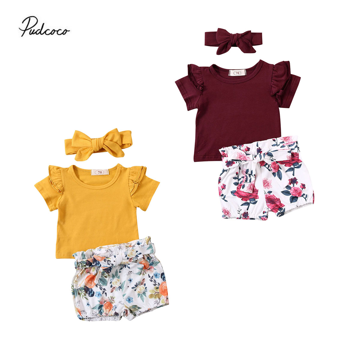 Toddler Infant Baby Girl Ruffle Tops Floral Shorts Summer 3PCS Outfits Clothes