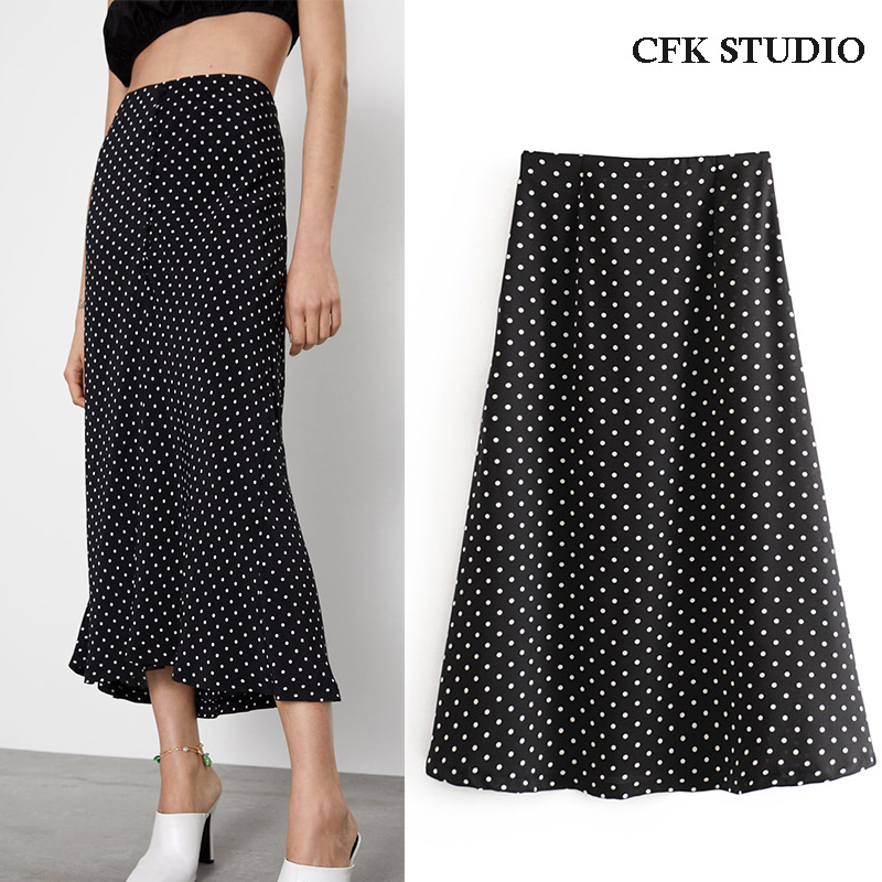 2020 New Za Women Midiskirt With High Waist Dot Print Elegant A-line Midiskirt Femme Summer Loose Chiffon Black Midiskirt