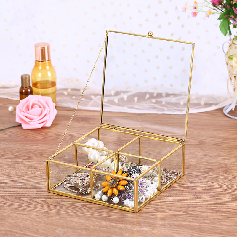 FACEINS Jewelry Boxes Storage Geometric Glass Storage Box For Jewelry Display Gold Jewelry Organizer Transparent Box 4 Grids