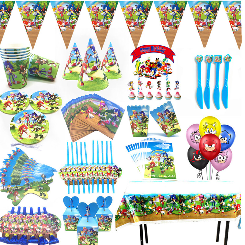Sonic Birthday Party Supplies set Paper Cup toys Sega Sonic the Hedgehog Super Hero Foil Kids Birthday Party decoratio toy