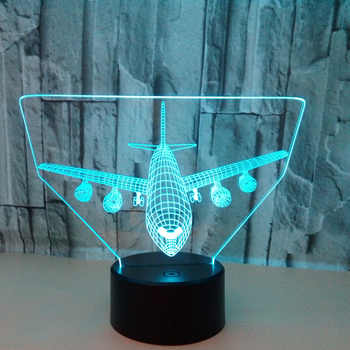 Airplane Model 3d Led Lamp 7 Color Vision Modelling Airplane Night lights Creative For Children\'s Gifts Kids Toys