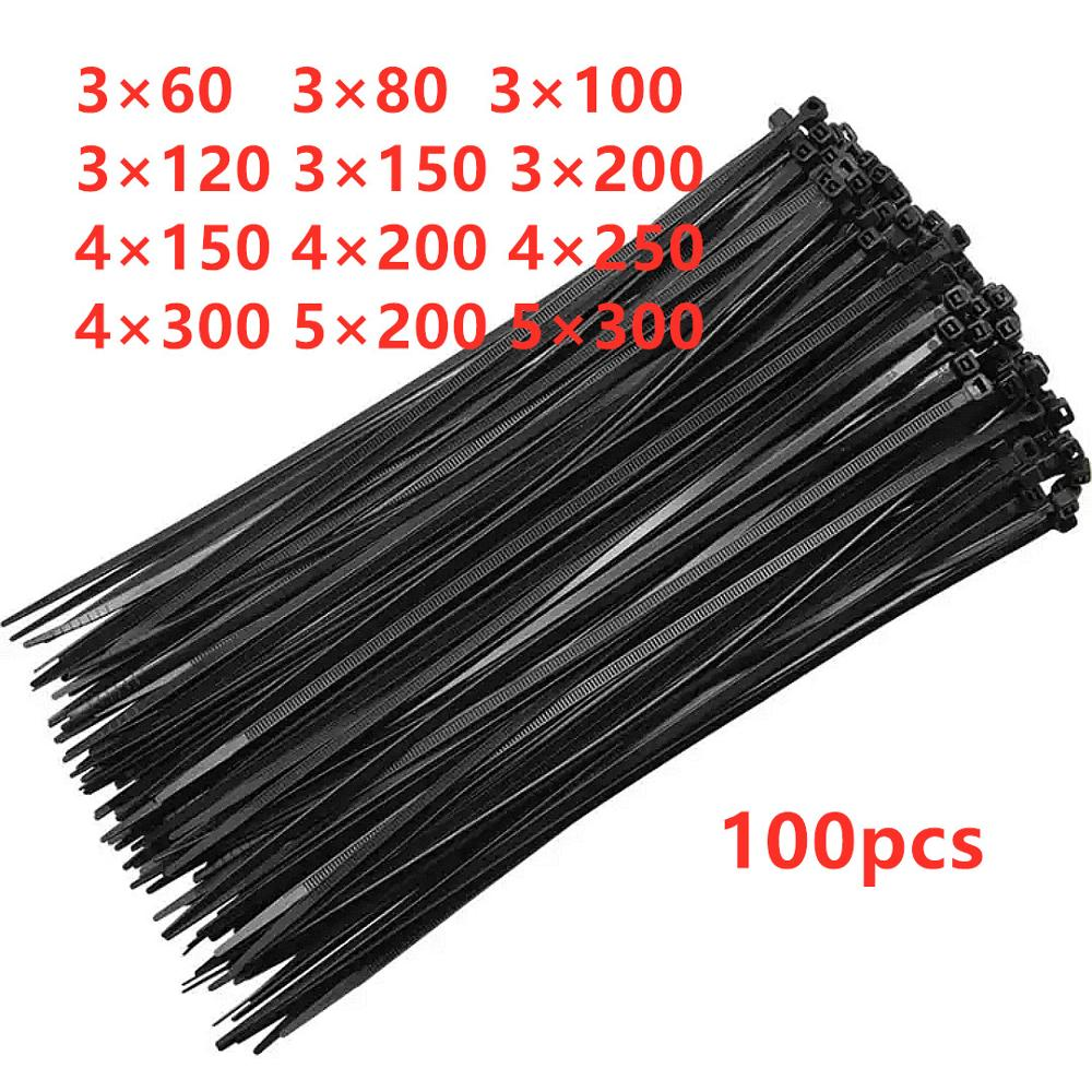 100PCS Black 5X200 Self-locking Plastic Nylon Tie Cable Tie Fastening Ring 3X200 Cable Tie Zip Wraps Strap Nylon Cable Tie