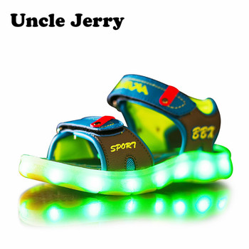 UncleJerry Led Sandals for Boys and Girls USB Charging Shoes Children Glowing Shoes Kids Summer Shoes 2016 spring new arrival children led light shoes boys and girls breathable shoes kids usb charging flash colorful luminous shoes