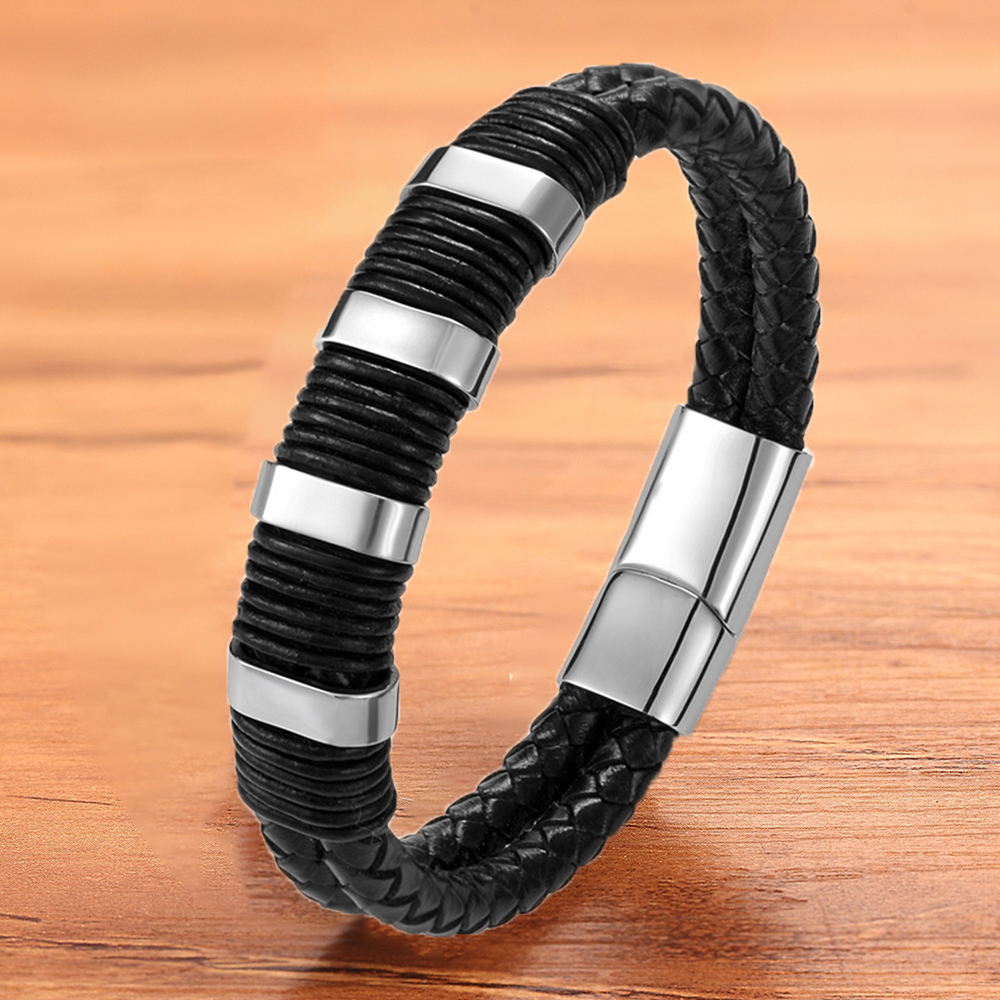 Luxury Fashion Genuine Black Leather Bracelet Bangles Men Magnet Accessories Punk Rock Rope Braided Armbands Wristbands