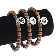 Unisex Women Men Bracelet Natural Sandalwood Buddhist Buddha Wood Prayer 108 Beads Lotus OM Bracelets Rosary pulseras Jewelry