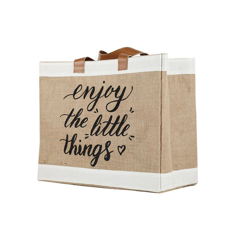 Letter Printed Reusable Large Tote Shopping Bag Grocery Storage Pouch Organizer 517D