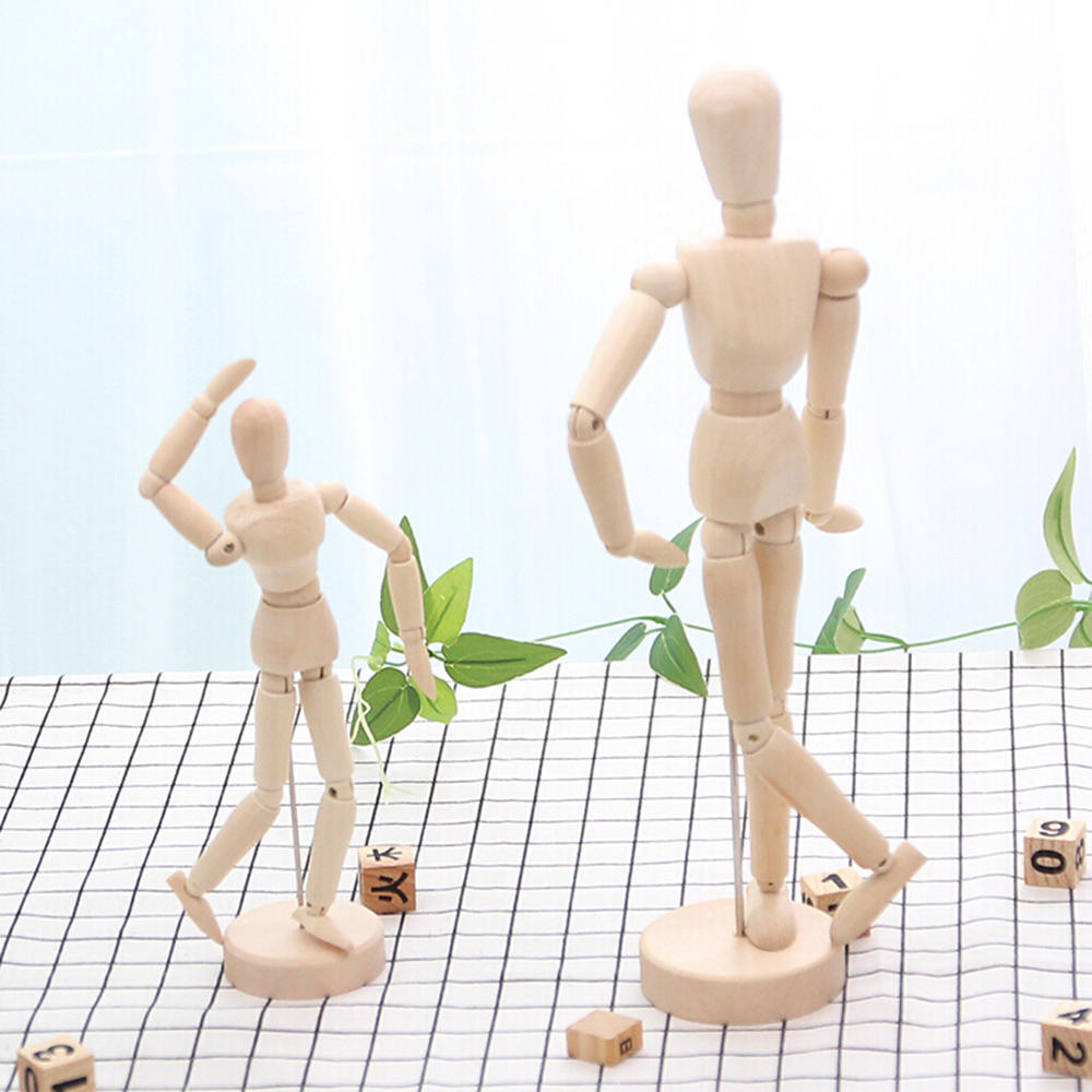 1x Artist Pose Wooden Jointed Doll Model Manikin Figurines Miniatures for Painting Artist Drawing Sketch Mannequin Decor