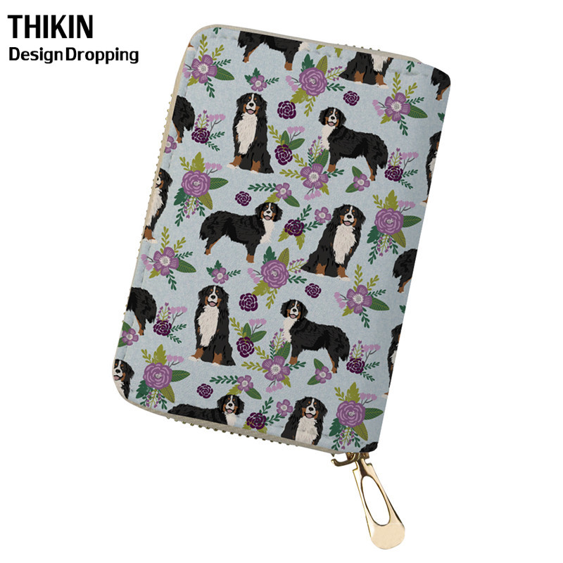 THIKIN Bernese Mountain Dog Animal Function Business ID Card Travel Card Holders for Women Case Ladies Fashion Card Wallet