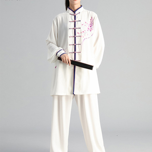 Image 4 - New Tai Chi Chinese Dress Set for Women Kung Fu Chinese Traditional Clothings Clothes for Women Hand painted Plum Wushu Uniform