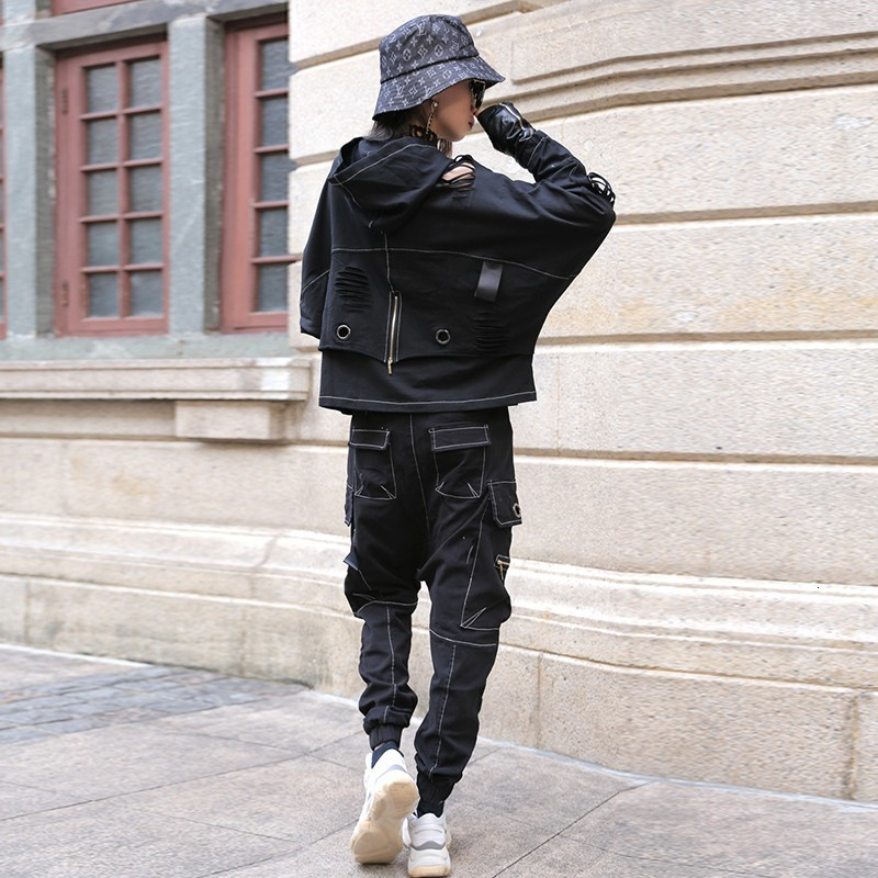 Gothic Style Loose Casual Two Piece Set Women Patchwork Pullover Hooded Hole Ripped Sweatshirt High Stree Cross Long Trousers