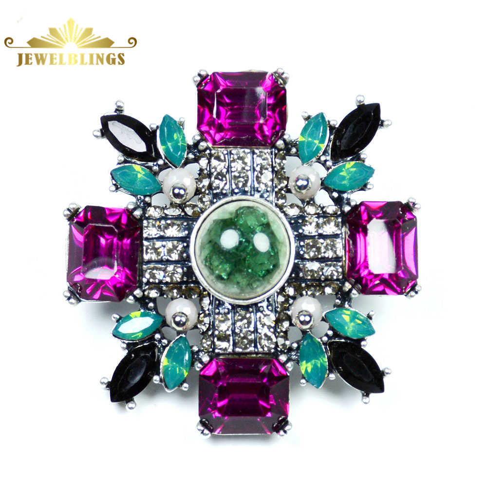 Antique Hijau dan Pink Kristal Art Deco Super Star Bros Perak Tone Marquise Persegi Batu Maltese Cross Bros Pin Aksesori