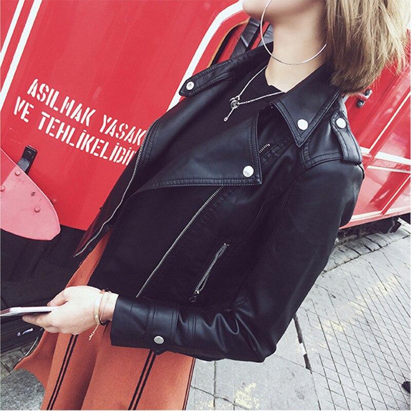 Semfri PU Leather Jacket Women 2020 New Spring Autumn Street Coat Korean Version Motorcycle Style Coat Body Slim Leather Jacket
