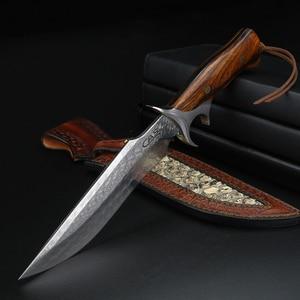 Нож из дамасской стали для кемпинга, охотничьи инструменты, ножи для выживания, тактическая рыбалка, тактический боевой edc нож для самооборо...