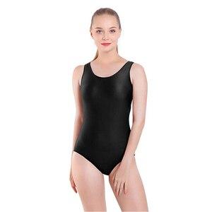 Image 1 - AOYLISEY body de Ballet réservoir noir pour femmes, léopard de danse, Scoop, cou, gymnastique, slim, Costumes de scène