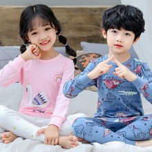 Детская одежда для сна с длинными рукавами и героями мультфильмов; одежда для маленьких девочек; костюмы для сна; весенние хлопковые детские пижамы; одежда для сна для мальчиков; пижамы; 2 шт