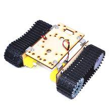 Economy Robot Wooden Tank Chassis TT Motor 3-9V Tracked Intelligent Car Tool R9UE