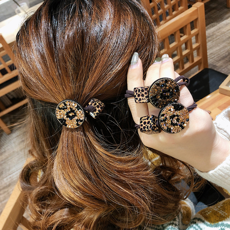 2PC Fashion Leopard Grain Disc Water Drill Women Elastic Hair Bands Crystal Pearl Combo Leopard Grain Maiden Hair Accessories
