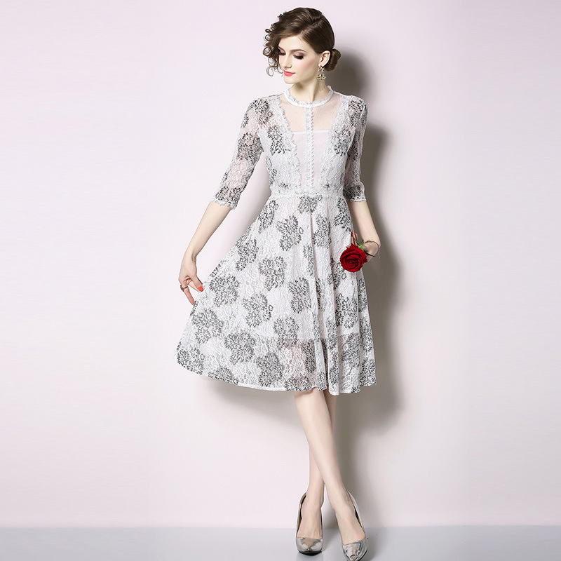 Western Style Elegant WOMEN'S Dress 2019 Spring And Summer New Products Lace Joint France Non-mainstream Skirt Fairy