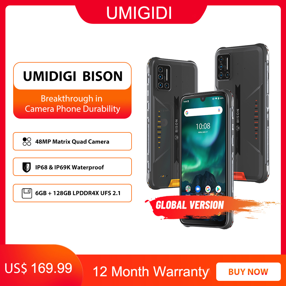 "UMIDIGI BISON IP68/IP69K Wasserdichte Robuste Telefon 48MP Matrix Quad Kamera 6.3 ""FHD + Display 6GB + 128GB NFC Android 10 Smartphone Handys    -"