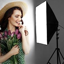 Fotografia de iluminação 2m luz tripé suporte + 50*70cm photo studio softbox + 50w pode ser escurecido lâmpada led para câmera telefone tiro