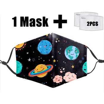 Cartoon Planet Printing 3d Mask Fashion Kawaii Pattern Unisex Protective PM 2.5 Filter Dustproof Flu Washable Adult Fashion Mask