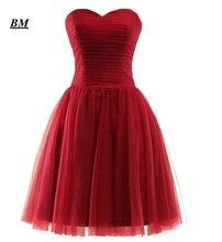 2019 Elegant Cheap A-line Short Sweetheart Tulle Prom Dresses Beaded Formal Evening Dress Party Gown Vestidos De Gala BM106 цена и фото