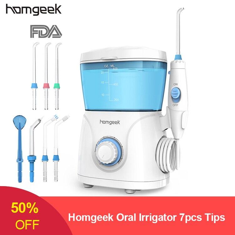 Homgeek Oral Irrigator 7pcs Tips Dental Water Flosser Irrigator For Cleaning Teeth  Irrigators Rechargeable  Water