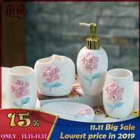 3D Luxury Ceramic Flower Bathroom Accessories Bathroom Set Lotion Bottle Toothbrush Holder Soap Box Trays Bathroom kit