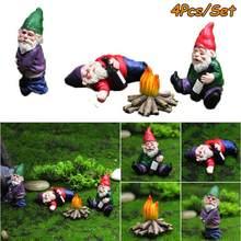 Conjunto de adornos en miniatura para maceta, Set de 4 Uds. De Mini estatuas de Bonfire de enano para decoración de maceta