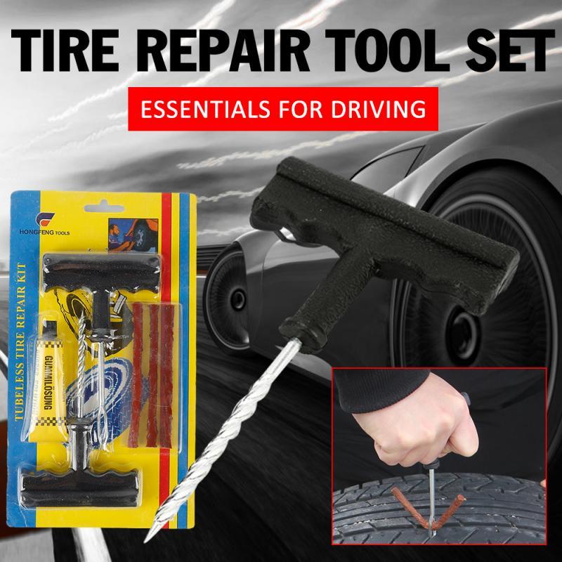 Car Tire Repair Tool Tire Repair Kit Studding Tool Set Auto Bike Tire Repair Puncture Plug Garage Practical Hand Tools TSLM1