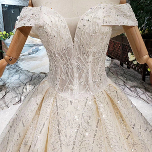 Image 5 - BGW HT43026 2020 חדש חומר חתונת שמלות עם ארוך רכבת כבוי כתף מתוקה יוקרה שמלת כלה עם מבריק פאייטים