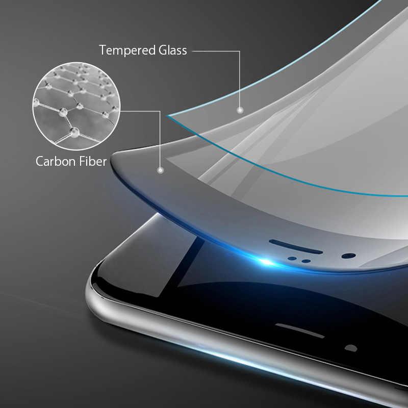 2 قطعة غطاء كامل الزجاج المقسى على آيفون 7 8 6 6s زائد حامي الشاشة فيلم واقية آيفون X XS ماكس XR منحني حافة
