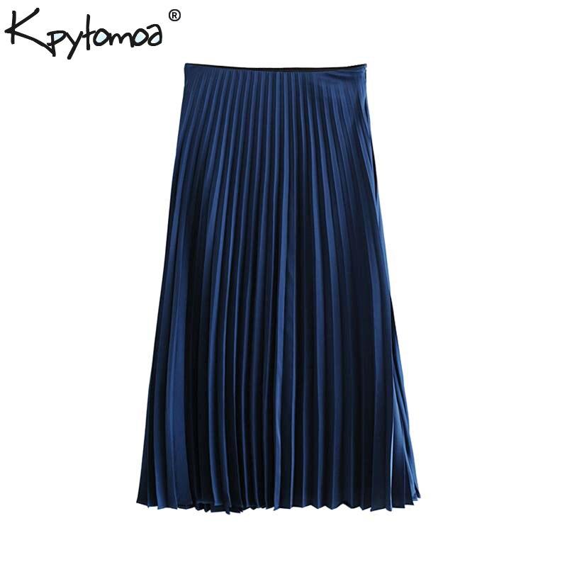Vintage Stylish Office Lady Pleated Midi Skirt Women 2019 Fashion A Line Side Zipper Elegant Skirts Faldas Mujer