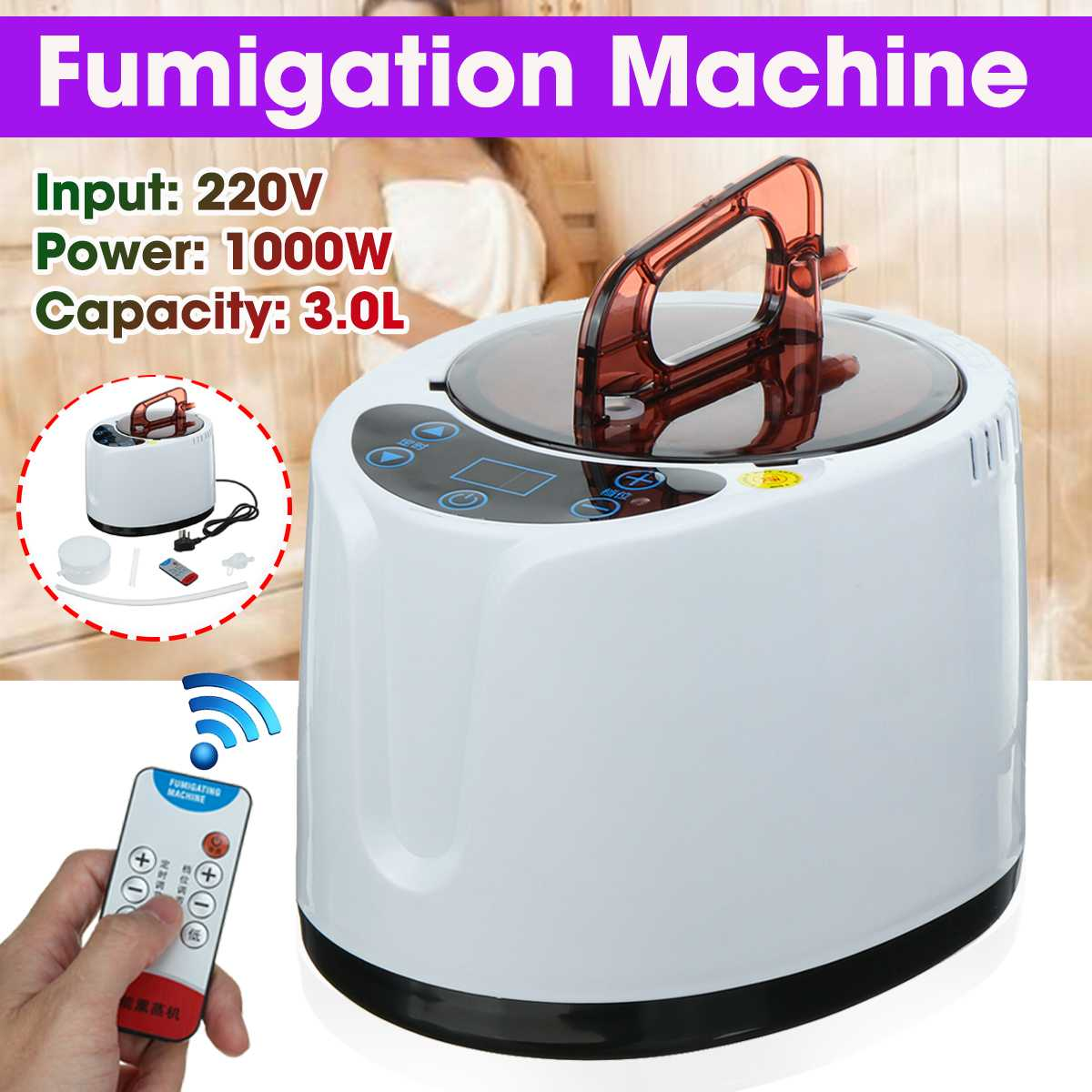3.0L Sauna Steam Generator For Sauna Spa Tent Body Therapy Fumigation Machine Home Steamer Therapy Suitable For Kitchen 220V