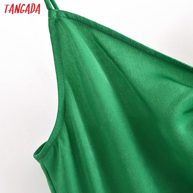 Tangada Women Green Pleated Sexy Satin Short Dress Strap Sleeveless 2021 Summer Fashion Lady Dresses Vestido 3H320 3