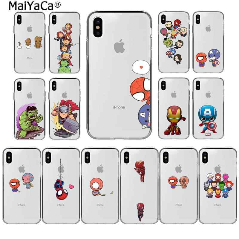 MaiYaCa Cute Marvel Avengers Spider-Man Captain America Cover per telefono per iphone SE 2020 11 pro XS MAX 8 7 6 6S Plus X 5 5s SE XR