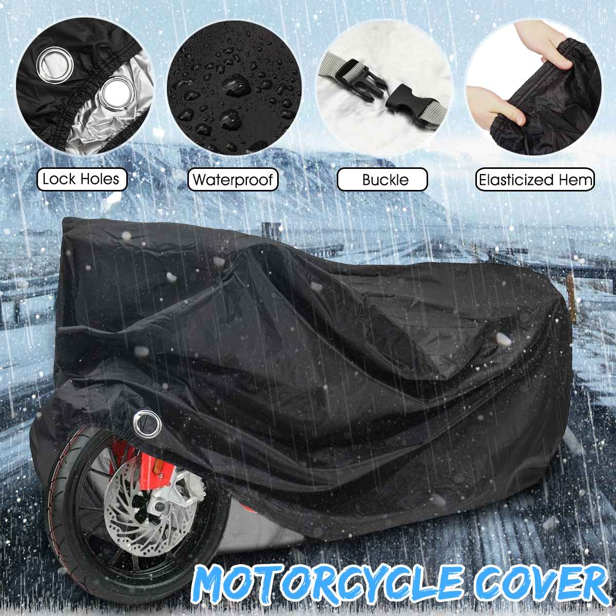 Universal Size M L XL 2XL 3XL 4XL Motorcycle Motorbike Cover Elastic Cycling Protector Outdoor Anti-Rain Snow Dust