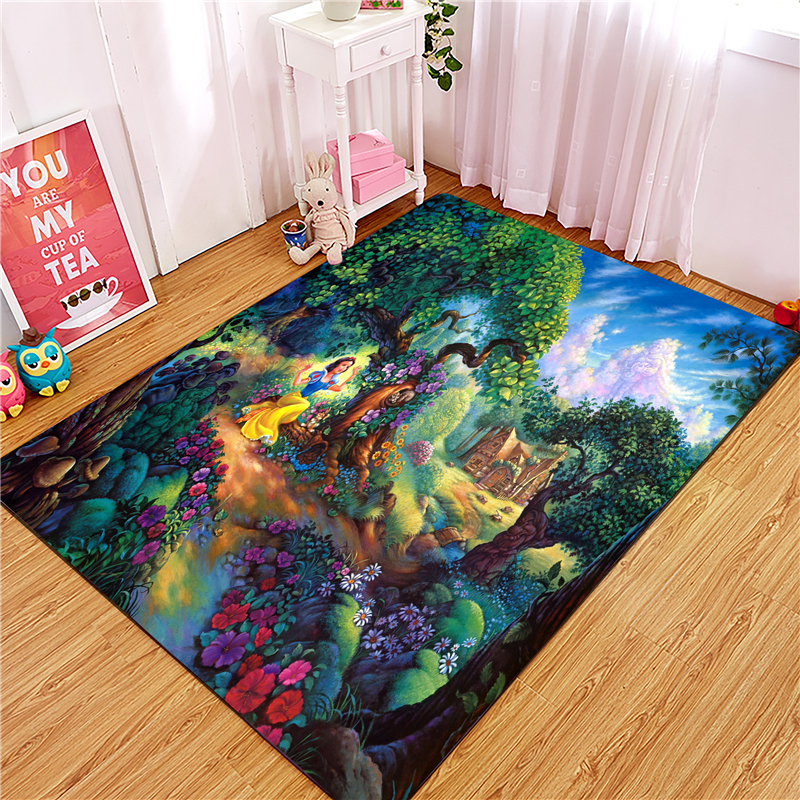 Princess Door Mat Waterproof Cartoon Anna Elsa Mat Cute Kitchen Rugs Bedroom Carpets Decorative Stair Mats Home Decor Crafts