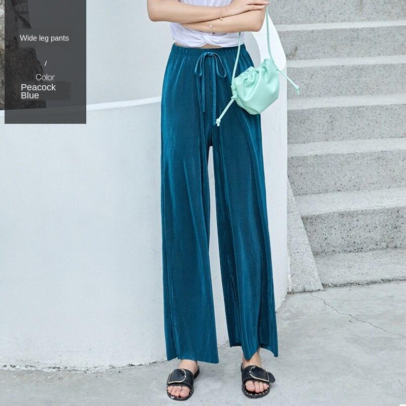 Pantalones De Pierna Ancha Para Mujer De Cintura Alta Drapeada Mopa Pantalones Flojos Rectos Informales Pantalones De Nubes Moda De Verano 2020 Pantalones Y Pantalones Capri Aliexpress