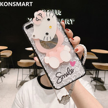 Lace Cases For Huawei Honor 20 20Pro V20 V9 Case V9Play Honor Play Kitty Mirror Lanyard Phone Case Cover Honor20 KONSMART