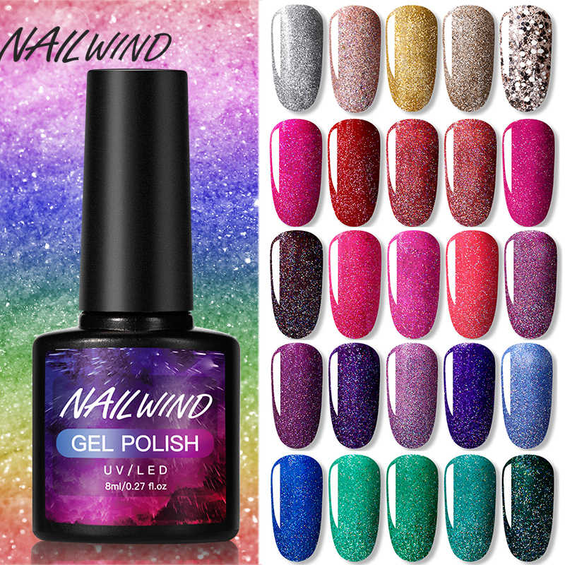 Nailwind Hybrid Pernis Neon Gel Cat Kuku Manikur Set untuk Kuku Seni Base Top Coat Uv Gel Semi Permanen Gel bahasa Polandia Kuku