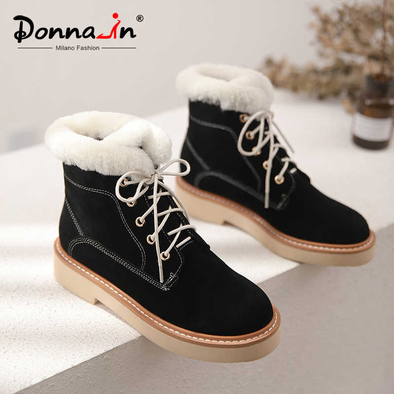 Donna-süet kış platformu yarım çizmeler kadınlar için hakiki deri Casual Lace Up kalın sıcak peluş kar botları ayakkabı med topuklar