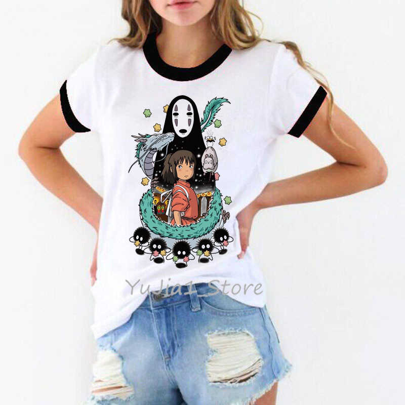 totoro Spirit Away t shirt women Studio Ghibli femme Japanese Anime cartoon tshirt t-shirt Miyazaki Hayao clothes female kawaii