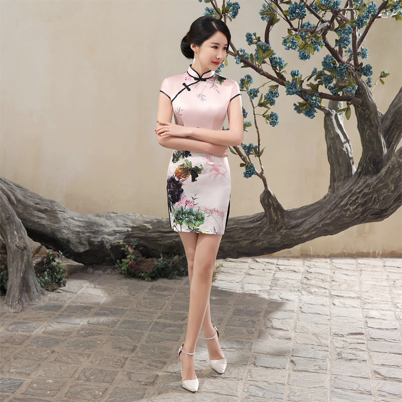 Wholesale LGD88-A Spring New Style Dress Retro Fashion Spray-print Silk Short Improved Cheongsam Slim Fit Slimming
