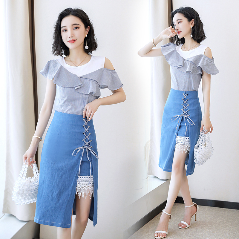 Spring and summer new style Striped top + denim dress two-piece suit women temperament