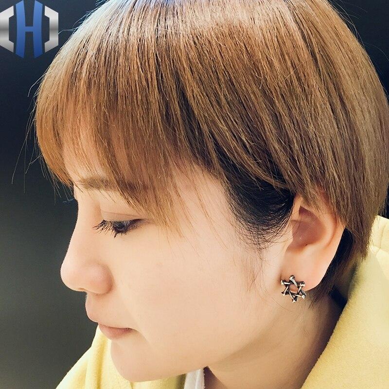 Boucles d'oreilles humérales faites à la main en argent Sterling 925 avec étoile à Six branches pour hommes et femmes - 2