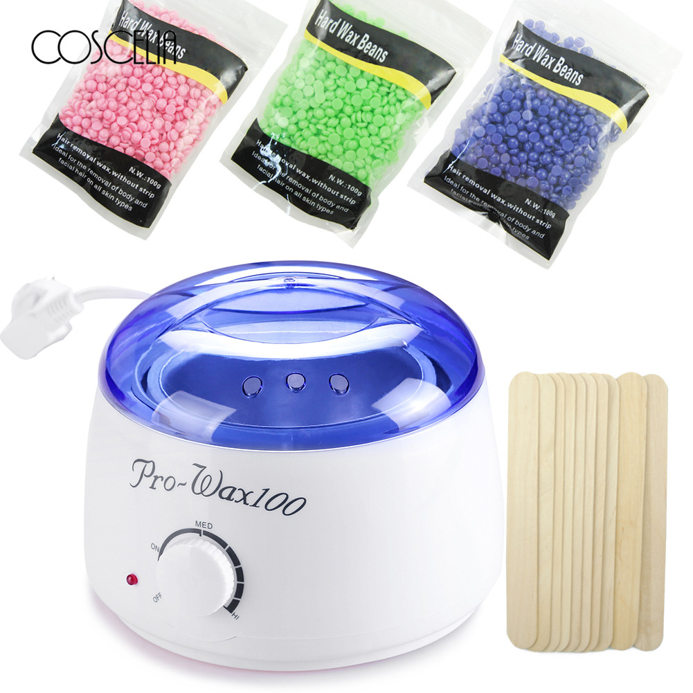 Electric Wax Heater Set 3 Packs Hard Wax Beans 10Pcs Stir Bar Hair Removal Machine Wax For Depilation Waxing Kit Health Care