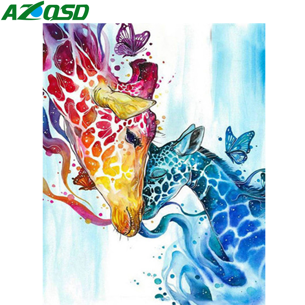 AZQSD Unframe DIY Paint By Number On Canvas Kits Deer Home Decor Coloring By Numbers Cartoon Acrylic Paint Handmade Gift