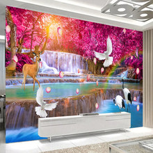 Custom Wall Cloth Waterfall Red Maple Forest Landscape Chinese Mural Wallpaper Living Room TV Home Waterproof Decor Wall Sticker(China)